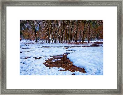 Snow Covered Field And Trees Framed Print