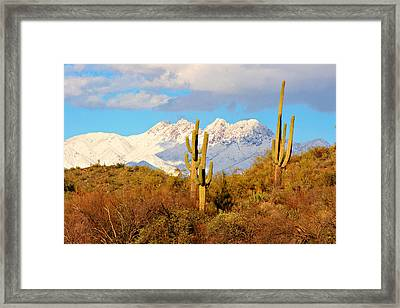 Snow Covered Four Peaks Framed Print