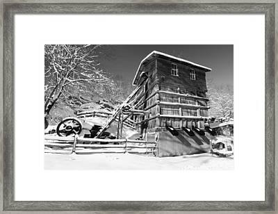 Snow Covered Historic Quarry Building Framed Print by George Oze