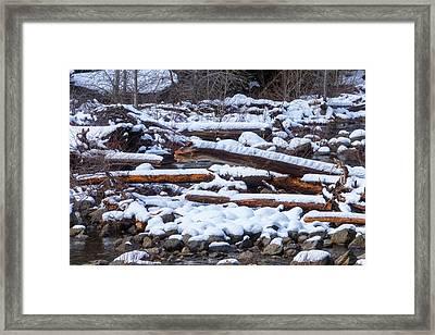 Snow Covered Logs Framed Print