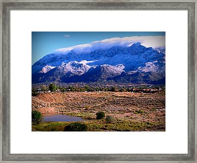 Snow Covered Mountains Above The Pond Framed Print