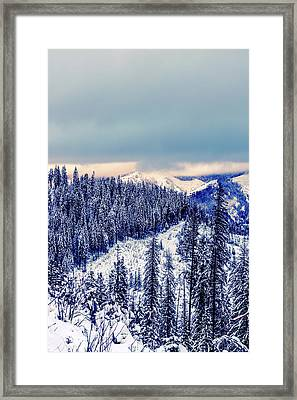 Snow Covered Mountains Framed Print