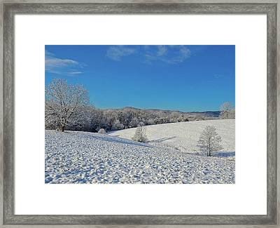 Snow Covered Pasture Framed Print by Susan Leggett