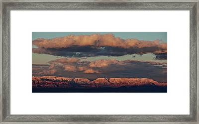 Framed Print featuring the photograph Snow Covered Red Rock Panorama by Ron Chilston