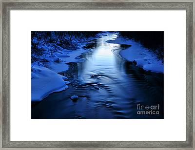 Snow Covered River On March Evening After Sunset Framed Print by Mikko Palonkorpi
