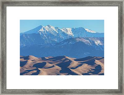Snow Covered Rocky Mountain Peaks With Sand Dunes Framed Print by James BO Insogna