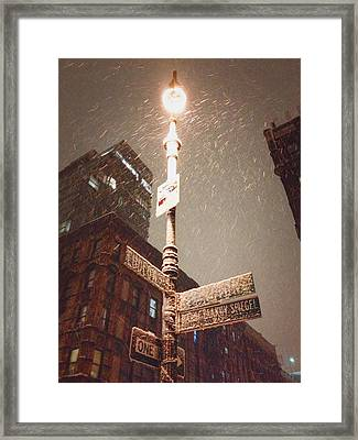 Snow Covered Signs - New York City Framed Print