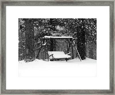 Snow Covered Swing B Framed Print by John Myers