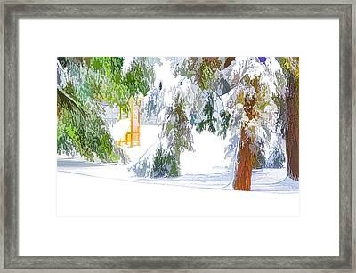 Snow-covered Tree Branch 2 Framed Print