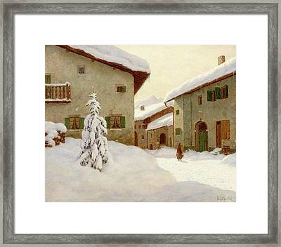 Snow Covered Village In The Winter Framed Print by MotionAge Designs