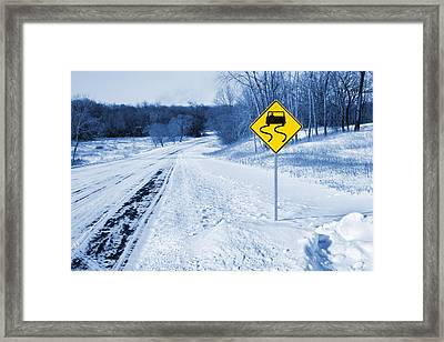 Snow Covered Winter Road Blue Tone Framed Print by Donald  Erickson