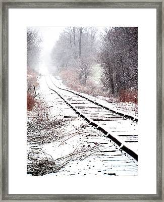 Snow Covered Wisconsin Railroad Tracks Framed Print