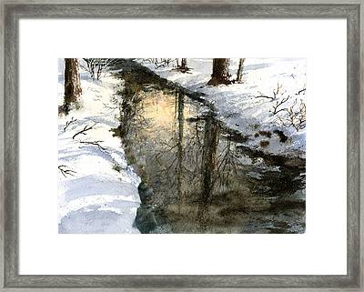 Framed Print featuring the painting Snow Creek by Andrew King