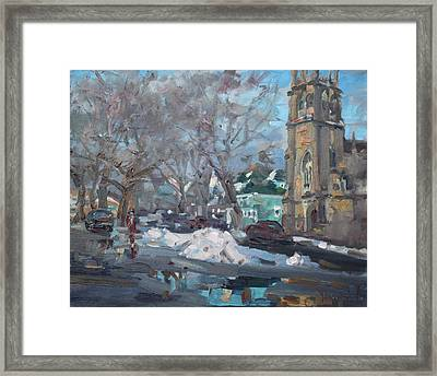 Snow Day At 7th St By Potters House Church Framed Print by Ylli Haruni