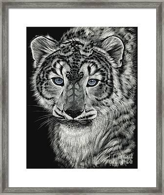 Snow Dragon Leopard Framed Print