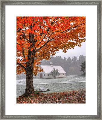 Snow Dust Over Autumn Foliage Framed Print