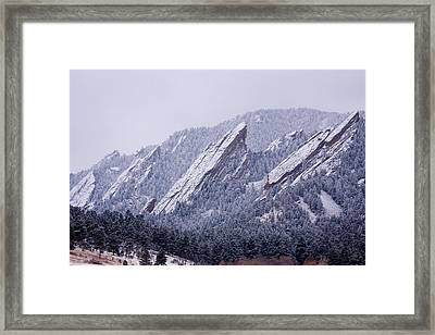 Snow Dusted Flatirons Boulder Colorado Framed Print