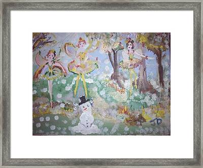Framed Print featuring the painting Snow Fairies by Judith Desrosiers