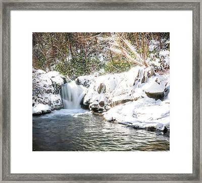 Snow Fall Waterfall Framed Print