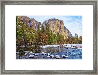 Snow Fall Yosemite Valley Framed Print by Garry Gay