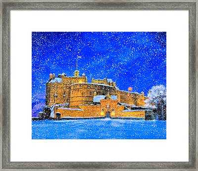 Snow Falling On Edinburgh Castle Framed Print