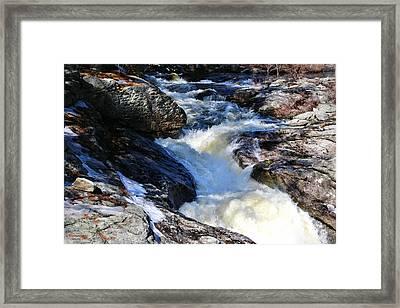 Snow Falls Cascading In Spring Framed Print by Sandra Huston