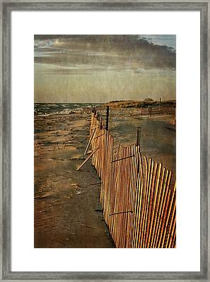 Framed Print featuring the photograph Snow Fence And Lake Michigan by Michelle Calkins
