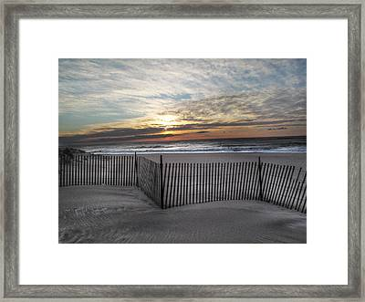 Snow Fence At Coopers Beach Framed Print