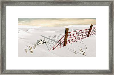 Framed Print featuring the painting Snow Fence by Peter J Sucy