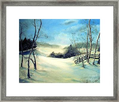 Framed Print featuring the painting Snow Flurries by Anna-Maria Dickinson