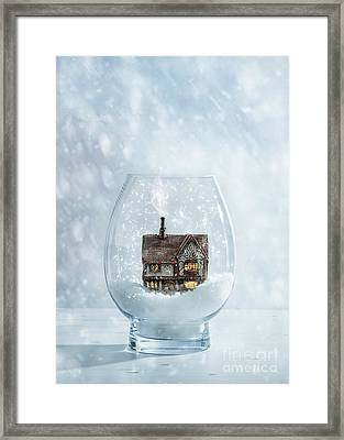 Snow Globe With Country Cottage Framed Print by Amanda Elwell