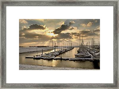 Snow Harbour Framed Print by Terence Davis
