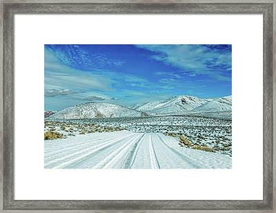 Framed Print featuring the photograph Snow In Death Valley by Peter Tellone