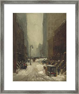 Snow In New York Framed Print by Robert Cozad Henri