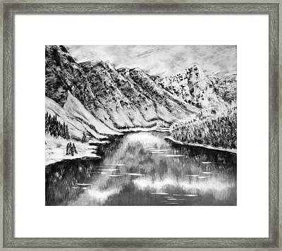 Snow In November Black And White Framed Print by Katreen Queen