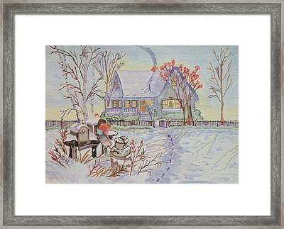 Framed Print featuring the painting Snow In Oregon by Connie Valasco