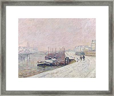 Snow In Rouen Framed Print