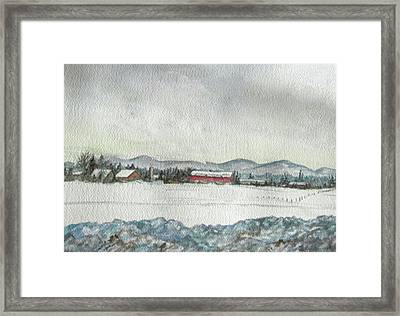 Snow In The Berkshires Framed Print by Judy Riggenbach