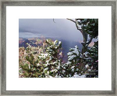 Framed Print featuring the photograph Snow In The Canyon by Roberta Byram