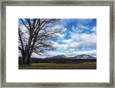 Snow In The High Mountains Framed Print