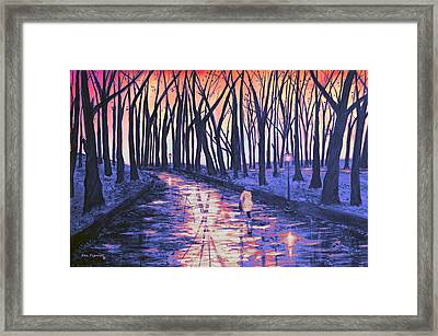 Snow In The Park At Sunset Framed Print by Ken Figurski