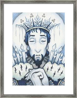 Snow King Slumbers Framed Print by Amy S Turner