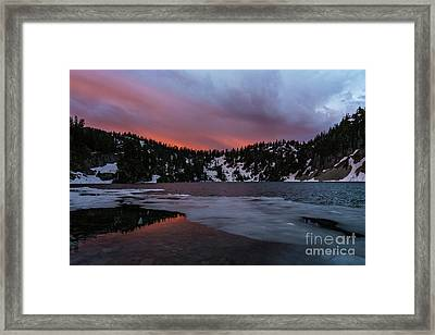 Snow Lake Icy Sunrise Fire Framed Print by Mike Reid
