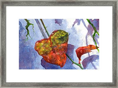 Framed Print featuring the painting Snow Leaf by Andrew King