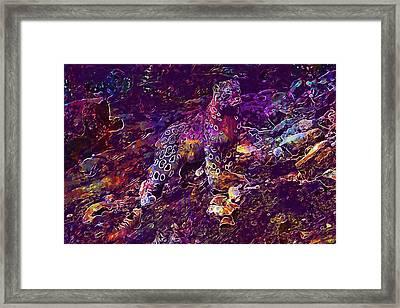 Framed Print featuring the digital art Snow Leopard Cat Animals  by PixBreak Art