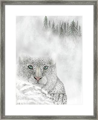 Framed Print featuring the digital art Snow Leopard by Darren Cannell