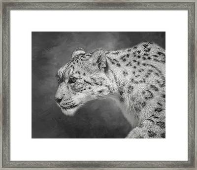 Framed Print featuring the digital art Snow Leopard by Nicole Wilde