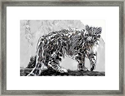 Framed Print featuring the digital art Snow Leopard by Pennie McCracken
