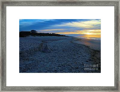 Snow Man At Sunrise Framed Print by Cindy Piper