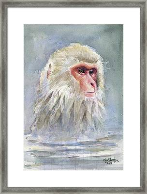 Snow Monkey Taking A Bath Framed Print